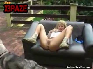 Blonde OutDoor With DOg On Chair - ZooTrex - Free Amateur Porn