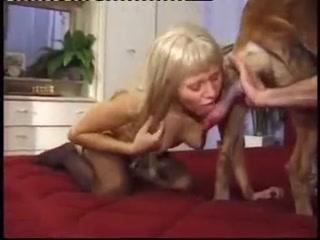 Blonde girl fucking threesome with dog