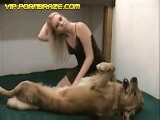 sexy londe playing with dog