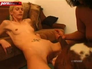Blonde girl attractive when the groin for dog fuck - Free Amateur Porn
